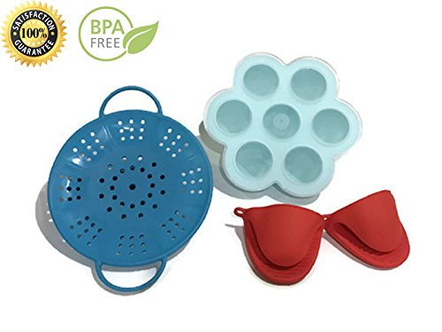 Midnight Traders - Silicone Egg Bites Molds with Silicone Vegetable Steamer and Silicone Mini Mitts Fits Instant Pot 5,6,8 qt Pressure Cooker