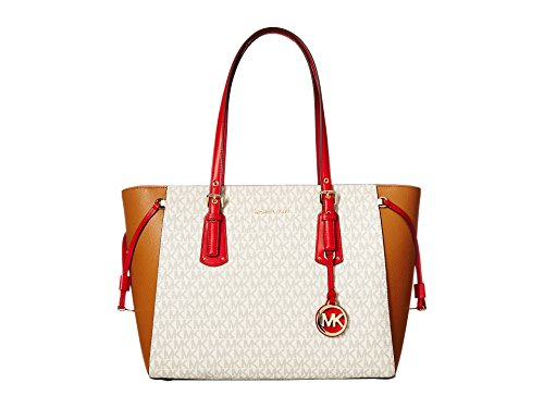 MICHAEL Michael Kors Voyager Multi-Function Top Zip Medium Tote, Vanilla/Acorn/Bright Red - Gucci Signature Trim
