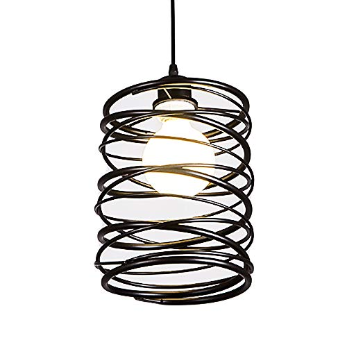 Iron Cage Island Lamp, Motent Industrial Vintage Spiral Cage Pendant Lighting Fixture Modern Personality 1-Light Iron Wrought Loft Hanging Lampshade for Living Room Boutique Art Show - 7.4 inches Dia