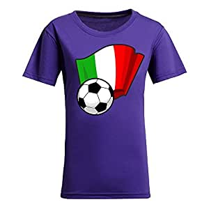 Custom Womens Cotton Short Sleeve Round Neck T-shirt with Flags,2014 Brazil FIFA World Cup Soccer Flags Purple