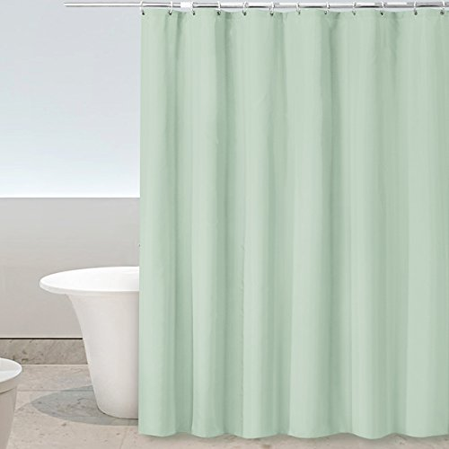 Eforgift Solid Color Bathroom Curtain Durable Polyester Fabric Anti-Mildew X-Long Modern Light Green Shower Curtain with Hooks, 72