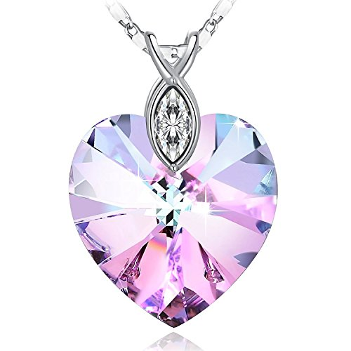 SUE'S SECRET Love Heart Crystal Pendant Purple Pink Heart Shape Necklace with Swarovski Crystal, Birthstone Necklace, Braveheart Pendant Necklace, Woman Fashion Jewelry Heart Necklace