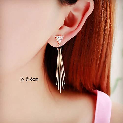 Simple Fashion Zircon Crystal Earrings Earring Ear Dangler Love Gift Fairy Long Handmade Hypoallergenic Trend Teardrop Shaped (2068 Golden Triangle Boom