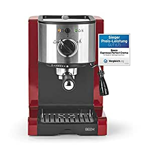 BEEM 02051Espresso Perfect (gelişmiş Version 2017.) | Espresso Makinesi için toz & ped (1350Watt, 15bar) | Espresso, kapuçino, latte macchiato, XXL-Crema, kahve Lungo | Brillantrot