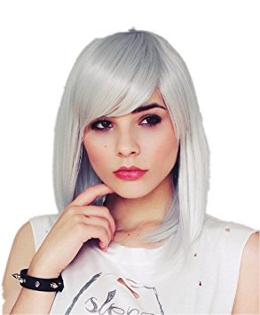 Cosplayland – 45cm silky smooth straight sleek face forming Theater Wig – Silver Grey 41g5WXPuYlL