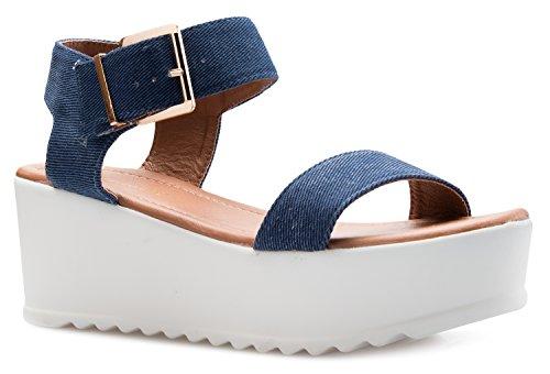 Denim Platform Blue (OLIVIA K Women's Platform Buckle Sandal - Open Peep Toe Fashion Chunky Ankle Strap Shoe,Blue Denim,6 B(M) US)