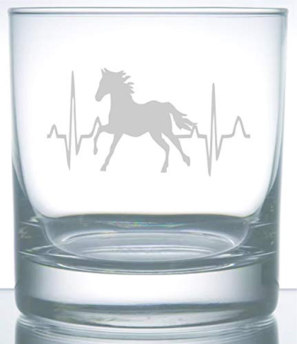 Horse Heartbeat Rodeo Collection | Laser Etched Engraved Glasses | Perfect for the Horse Lover Cowboy or Cowgirl | 11 Ounce (The Rodeo Collection)