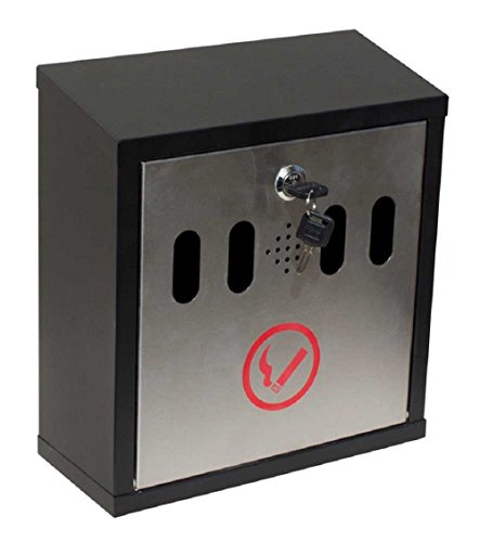 Qualarc WF-8022 Hayward Wall Mount Cigarette Ash Receptacle Black with Stainless,