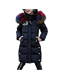 OCHENTA Kids Girls Winter Outerwear Jacket Warm with Hooded Overcoat Age of 2-10