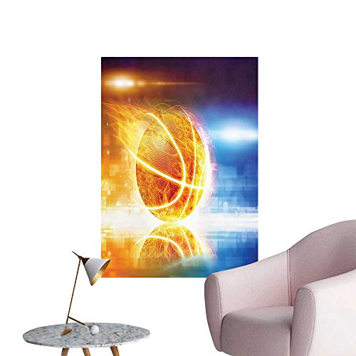 Wall Stickers for Living Room Sports Background Burning Basketball Reflecti Graphic Blue Yellow Vinyl Wall Stickers Print,32