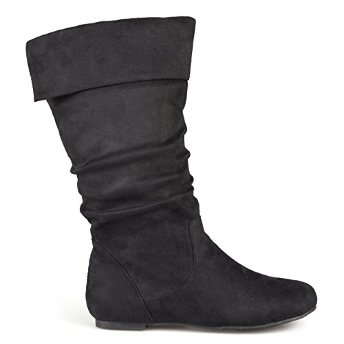 Microsuede Slouchy Boots - Brinley Co. Womens Regular Size and Wide-Calf Microsuede Slouch Mid-Calf Boot Black, 9.5 Wide Calf US