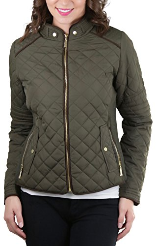 Olive Piping - ToBeInStyle Women's Quilted Padded Jacket Suede Piping - Olive - Large