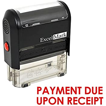 payment due upon receipt self inking rubber stamp red ink