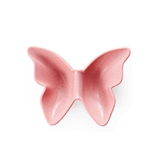 Kitchen Tool ZTY66, Natural Degradation Of Wheat Straw Butterfly Shaped Plate Snacks Dish, 12 x 9.5CM (Pink) (Plate Shaped Snack)