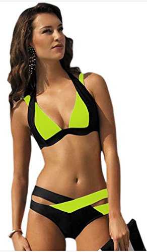IF FEEL Womens Sexy Yellow Black Double Color Criss-cross 2 Piece Padded Push Up Bandage Bikini Swimsuit
