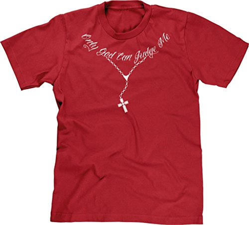 Blittzen Mens T-shirt Only God Can Judge Me Rosary, S, Red