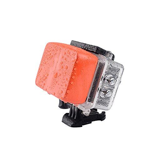 Lightwish Waterproof Backdoor Housing Case + Orange Floaty Sponge & 3M Adhesive Sticker For GoPro Hero4 Silver Black Hero 4 - Orange Floating