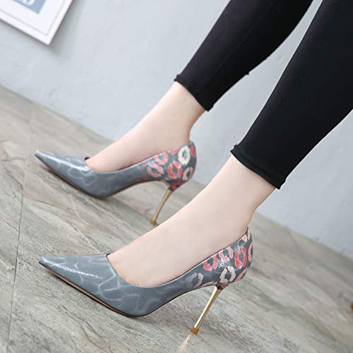 High Autumn Shoes Lacquer Sharp Sexy And Lip Night Fine Shoes KPHY Heels Color 10Cm Grey Winter Bride 14HnHxp