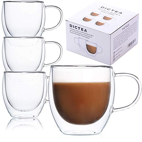 Glass Coffee or Tea Drinking Glasses Set of 4 Mugs - 8oz Double Wall Thermal Insulated Cups with Handle, Espresso Latte Cappuccino Stackable Glassware