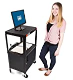 Line Leader AV Cart w/Locking Cabinet   Height Adjustable Utility Cart   Includes Power Strip & Cord Management   Great for Offices, Classrooms, Libraries & More! (Black / 24'' x 18'')
