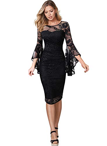 VFSHOW Womens Black Floral Lace Bell Sleeves Slim Ruched Business Cocktail Party Sheath Dress 2523 BLK S - Illusion Lace Dress