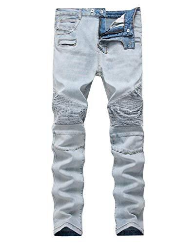 Ciclista del De Estiramiento Los Jeans Stretch Hellblau Pantalones Rasgados De Denim Vintage Pantalones Lavados Pantalones Vaqueros ADELINA Ropa Ajuste del Casuales Delgados Hombres xZ46Uf6t