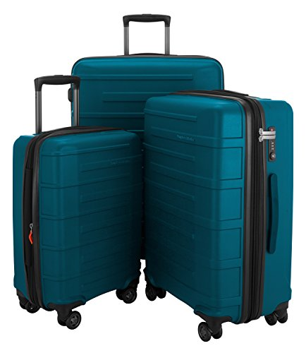 HAUPTSTADTKOFFER Ostkreuz Luggages Set Matt Suitcase Set Hardside Spinner Trolley Expandable (20¡°, 24¡° & 28¡°) TSA,Petrol Blue by Hauptstadtkoffer