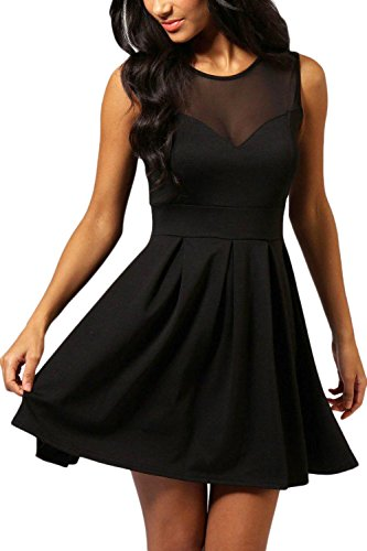 Manydress Women's A-Line Sleeveless Mini Swing Cocktail Party Dress (M, Black)