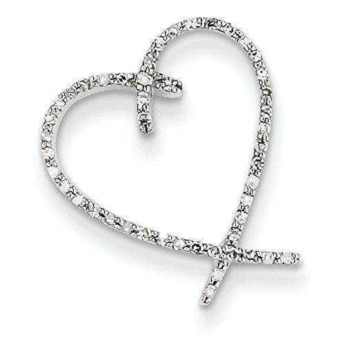 Vintage or blanc 14 carats Diamant Pendentif en forme de cœur-Dimensions :  16,2 x 18,3 mm JewelryWeb -