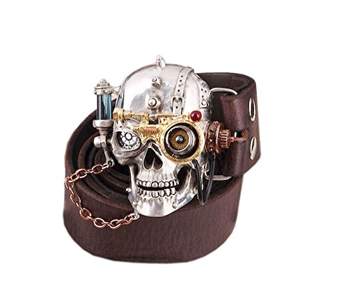 [COOL Handmade Tin Alloy Skull Punk Men Belt Buckles Cowhide Genuine Leather] (Handmade Buckle)