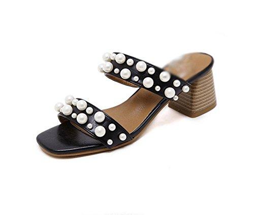 Salvajes Sandalias Zapatos Black Palabra Los Comodidad Mujeres Arrastre Las Punta De La Abierta Casuales qxAqS1F