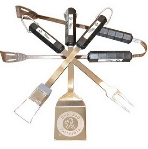 Mikash Oakland Athletics Bar-B-Q Grill Tool Set 4 pc MLB Fan Gift   Model GRLLST - ()