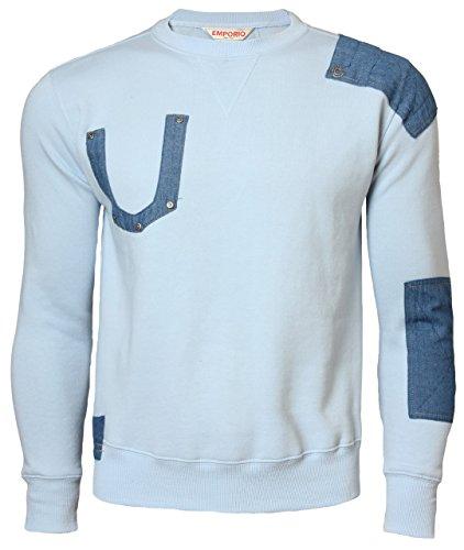 Emporio Men's Fleece Over Head Sweatshirt Top Large Ice Blue (Giorgio Armani Men Clothing)