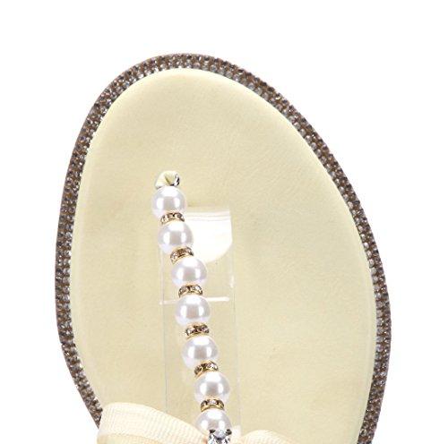 Schuhtempel24 Damen Schuhe Zehentrenner Sandalen Sandaletten Flach Ziersteine/Zierschleife Gelb