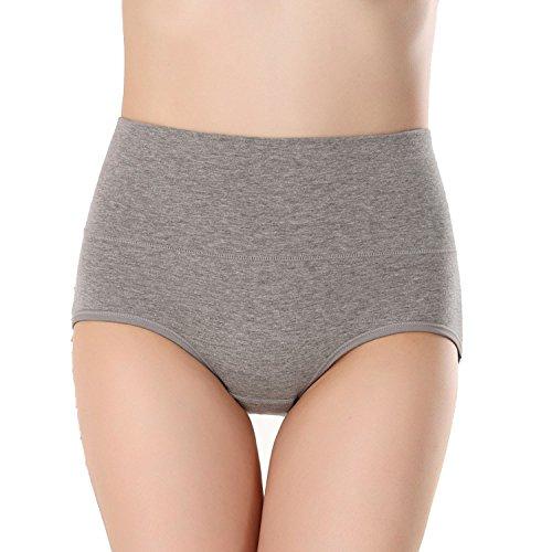 shiny star show Sexy Cotton Seamless Women High Waist Slimming Briefs Body Shaperwear Underwear,Gray,L