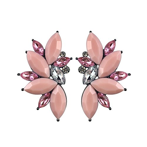 Colorful Punk Rock Spiky Oversized Candy Rhinestone Studded Cluster Women Stud Earrings in Shades of Rainbow - Purple, Green, Blue, Pink, Yellow, Red, and Many More! (Matte - Stud Oversized
