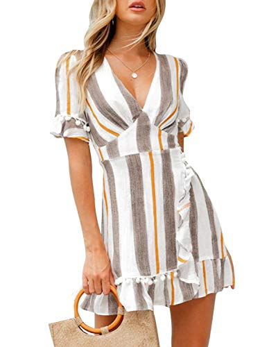 Simplee Women Simple Cotton Fit and Flare Mini A Line Dress,Stripe Gray,8