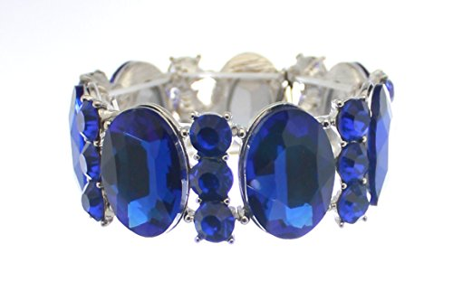 Carole Fay Dazzling Royal Blue on a Lightweight Silver Tone Base Metal Women's Fashion Jewelry Stretch Bracelet. Perfect for Prom/Pageant/Homecoming as well as any Special Occasion.
