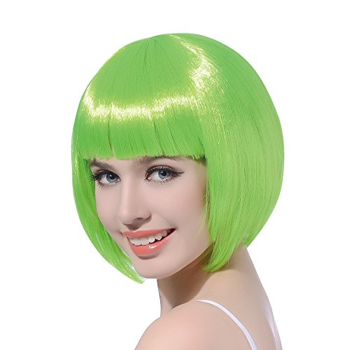 Green Costume Wigs (Green Short Bob Cosplay Flapper Wig-Synthetic Costume Party Women's Natural Looking St. Patrick's Day Carnival Halloween Christmas Bangs)