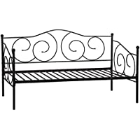 BestMassage Twin Size Daybed Frame Metal Sofa Bed Solid Support with Headboard Guest Dorm Home Furniture