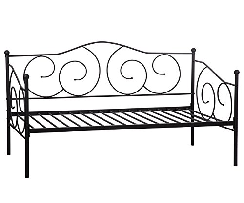 BestMassage Twin Size Daybed Frame Metal Sofa Bed Solid Support with Headboard Guest Dorm Home (Contemporary Twin Size Bed)