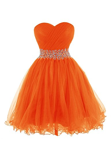 Orange Homecoming Dresses (KARMA PROM Women's Sweetheart Tulle Cocktail Dress Homecoming Dress US6 Orange)