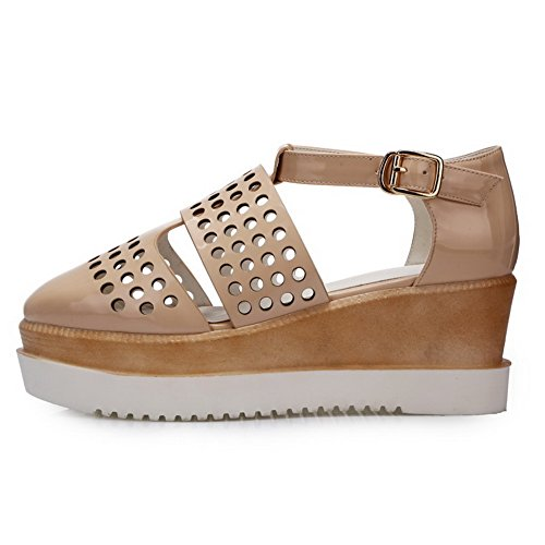 WeenFashion Kitten Women's Beige Buckle Closed Round Sandals PU Heels Toe Solid 7x7tqgwOr