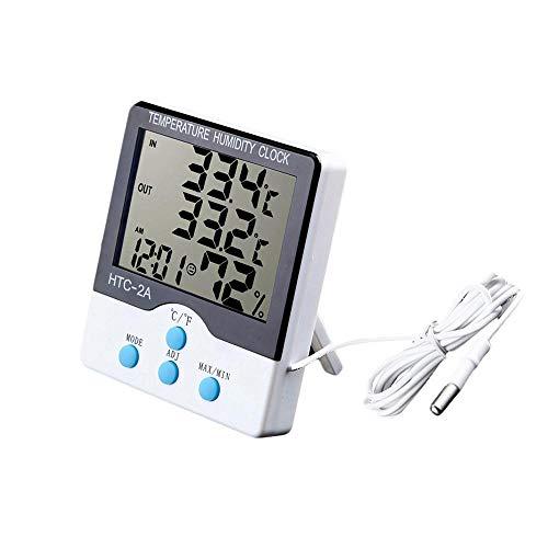 Termômetro digital termohigrometro mede a temperatura interna e externa relogio