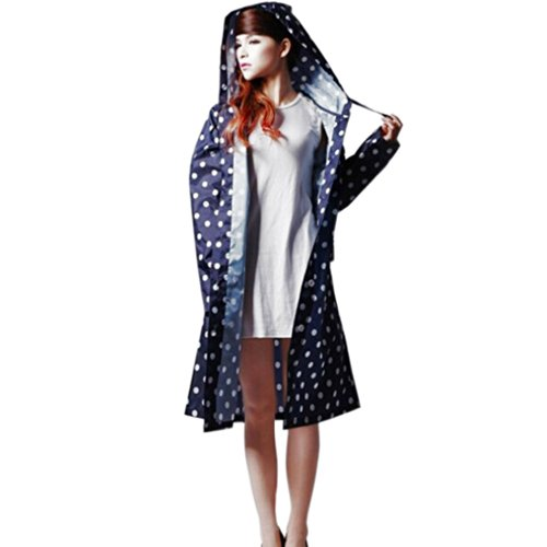 Trinny Women's Long Dot Waterproof Raincoat Rainwear Rain Jacket (Blue) (Rain Long Jacket compare prices)