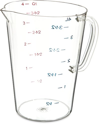 Carlisle 4314507 Commercial Plastic Measuring Cup, 1 Gallon, Clear (Pack of 6) (6 Cup Measuring 1)