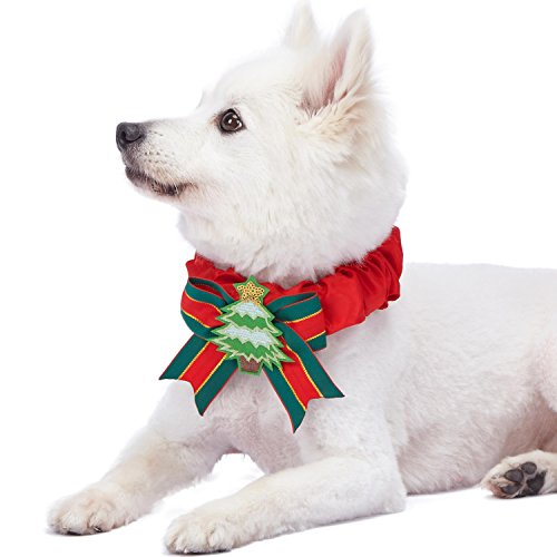 Blueberry Pet 2019 New Festival Fever Christmas Tree Dog Collar Cover for Small, Medium, Large Collars, Holiday Decorative Accessory for Pet Collar