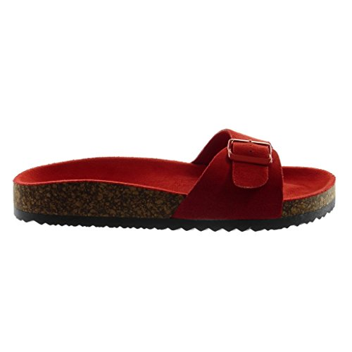 Angkorly Damen Schuhe Mule Sandalen - Slip-On - Kork - Schleife Keilabsatz High Heel 2.5 cm Rot