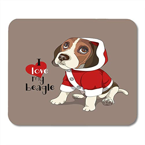 Mouse Pad Brown Christmas Puppy Beagle in Red Jumper Hood Adorable Mousepad for Notebooks,Desktop Computers Mouse Mats, Office Supplies