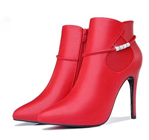 baratas tacón KUKI de botas botas red zapatos las de otoño mujeres botas de con alto invierno botas las mujeres y impermeables wf1gzxwqa